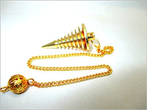 (Jet Gold Metal Hard Coil Twisted Pendulum Cone Vortex Chamber Reiki Wiccan Free Booklet Jet International Crystal Therapy Healing Dowsing A++ Metaphysical Spiritual Image is JUST A Reference )