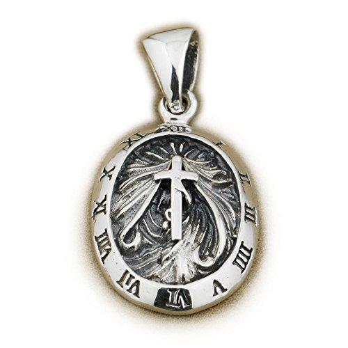 Silver Teardrop Cross - LINSION 925 Sterling Silver Teardrop Cross Pendant Rome Clock Decorative Mens Biker Jewerly 9R007