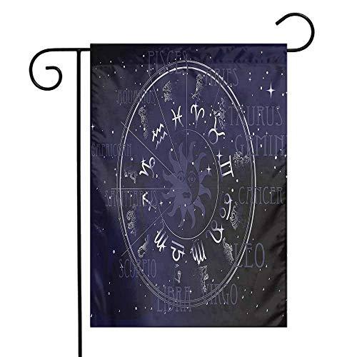 WinfreyDecor Astrology Garden Flag Zodiac Circle Wheel Premium Material 12