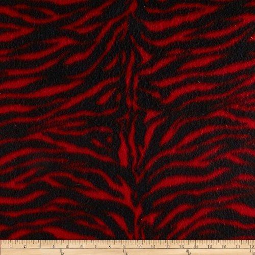 Fleece Zebra Print Red/Black Fabric