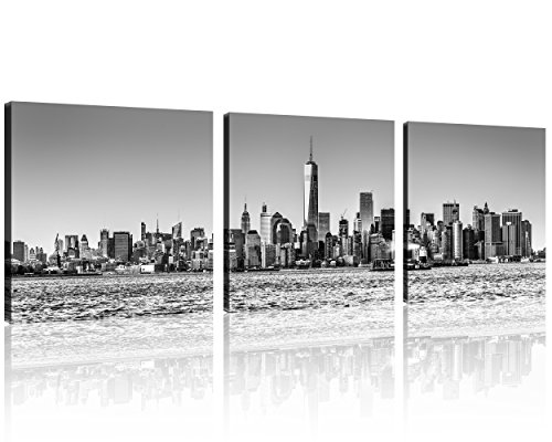Art Nyc (QICAI 3 Panel New York Skyline Wall Art New York City Skyline Black & White Prints On Canvas New York Canvas Black and White Cityscape the Picture nyc City Picture Oil Painting For Home Decor,3pcs/set)