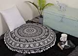 Aakriti Gallery Mandala Floor Round Pillowcase Pillow Meditation Cushion Seating Throw Cover Decorative Bohemian Boho Indian Cover Only (35 inch/89 cms) (Black White)