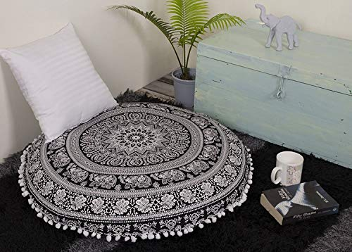 Aakriti Gallery Mandala Floor Round Pillowcase Pillow Meditation Cushion Seating Throw Cover Decorative Bohemian Boho Indian Cover Only (35 inch/89 cms) (Black White) by Aakriti Gallery