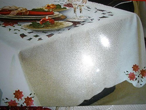 Tapestry Trading 05HZ4080-60120 60 x 120 in. Embroidered Christmas Poinsettia Jacquard Cutwork Table Cloth by Tapestry Trading