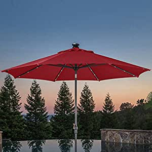 10' LED Solar Auto Tilt Aluminum Umbrella made with Sunbrella Fabric RED
