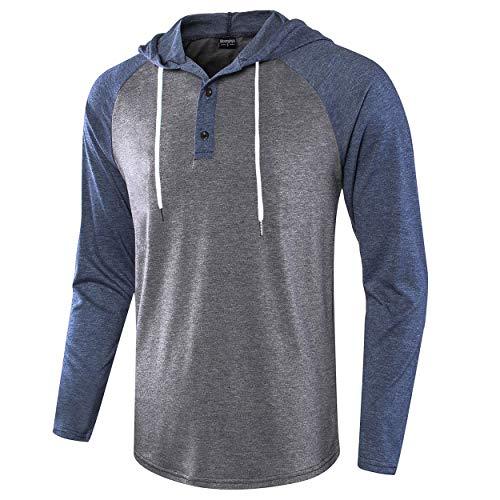 Moomphya Men's Casual Lightweight Long Sleeve Raglan Henley Jersey Hoodie T Shirt (Dark Blue.Dark Grey, X-Large) ()