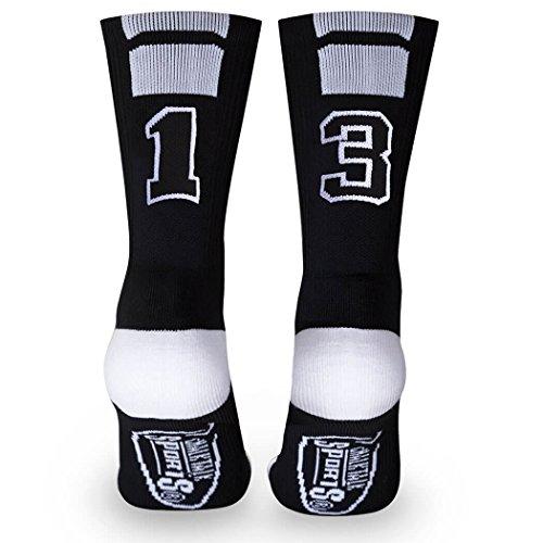 Custom Team Number Crew Socks | Athletic Socks by ChalkTalkSPORTS | Black | 13 (Volleyball Girls Socks)