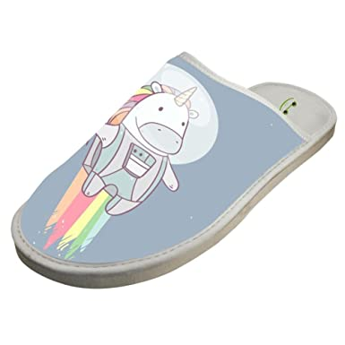 926c52ee7 Slippers with Unicorn Rainbow Rocket Original Indoor Sandals Family Shoes  Flat Winter Sleeppers 6 B(
