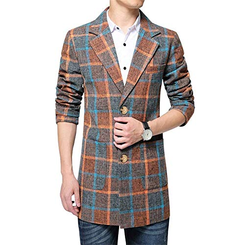 Tweed Men's Smart Plaid Men's Formal Ntel Lapel Jacket Fit Orange Targogo Jackets Sleeve Trun Mens Slim Long Ntel Trench Outdoor Down Long d4xwtqY
