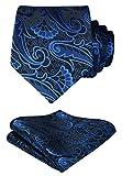 HISDERN Paisley Tie Handkerchief Woven Classic Men's Necktie & Pocket Square Set,Blue & Black,One Size