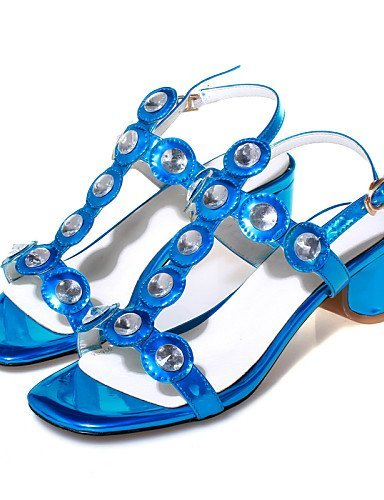 Blue Cowhide Red Toe Women's Heel Blue Shoes Sandals Chunky Silver ShangYi Ring Slingback Casual qORaw