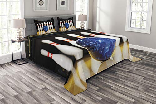 Lane Bedroom Sets - Ambesonne Bowling Party Bespread Set Queen Size, Blue Abstract Ball on The Lane Pins Close Up View Sports Leisure Time Game, Decorative Quilted 3 Piece Coverlet Set with 2 Pillow Shams, Blue Yellow