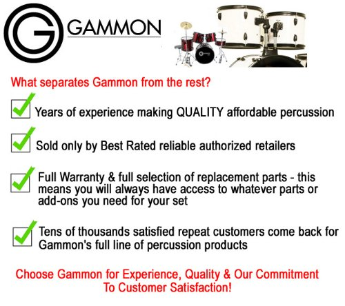 Gammon Percussion Full Size Complete Adult 5 Piece Drum Set with Cymbals Stands Stool and Sticks, Black by Gammon Percussion (Image #7)