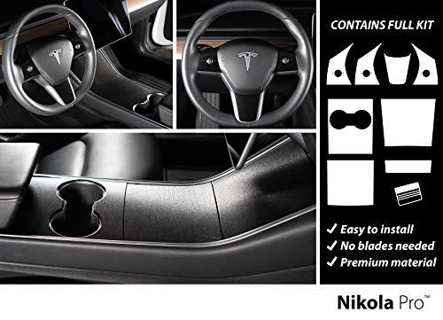 Nikola Pro Tesla Model 3 Center Console Steering Wheel Wrap Kit Bundle (Brushed Black Metallic)
