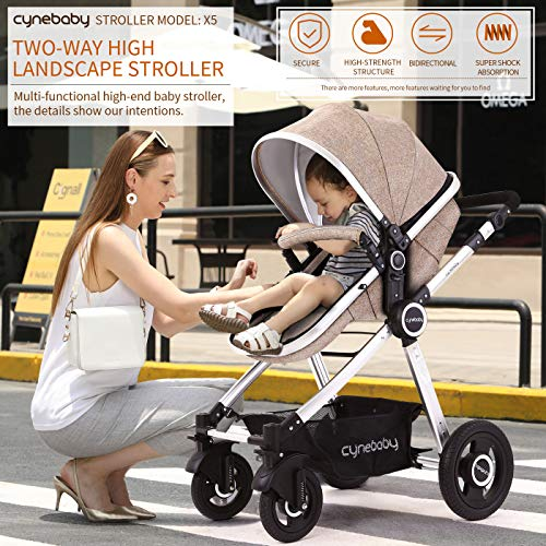51IMfENI4aL - Baby Stroller Bassinet Pram Carriage Stroller - Cynebaby All Terrain Vista City Select Pushchair Stroller Compact Convertible Luxury Strollers Add Foot Cover (Light Brown)