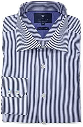 Wayver NavyTwill Stripe Business Shirt,Navy,37