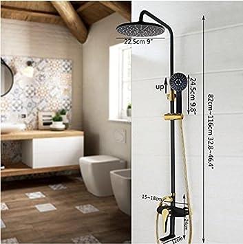 Makej Schwarz Dusche Set Vergoldete Wand Whirlpool Badewanne Dusche