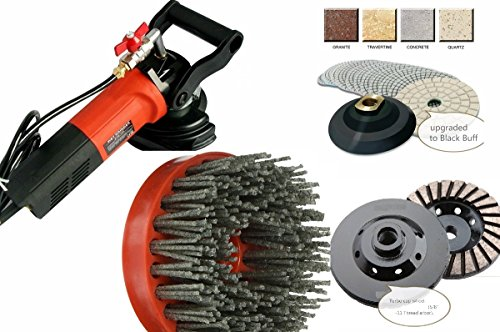 Polishing Pad Grinding cup silicon carbide antiquing brush granite marble concrete floor tile countertop color enhance refinishing repair stone care masonry fabricating (Red Concrete Top Ring)