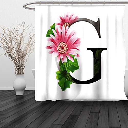 Lulu Sheer Panel (HAIXIA Shower Curtain Letter G Alphabet Letter with Blossoming Gerbera Flower and G Spring Inspired Font Pink Green Black)