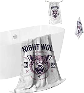 prunushome Beach Bath Towel Wolf Shower Hand Face Washcloths Roaring and Angry Animal for Hot Tub Pool Gym 3 Piece Towels Set (Bath Towels,Hand Towels,Washcloths)