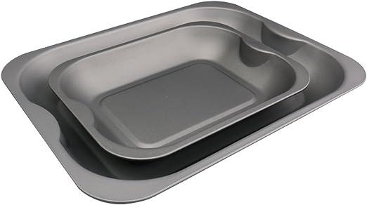 Pargat Housewares - Juego de 2 bandejas para asar (38 cm grande y 28 cm mediano), con teflón (TM), antiadherente libre de PTFOA: Amazon.es: Hogar
