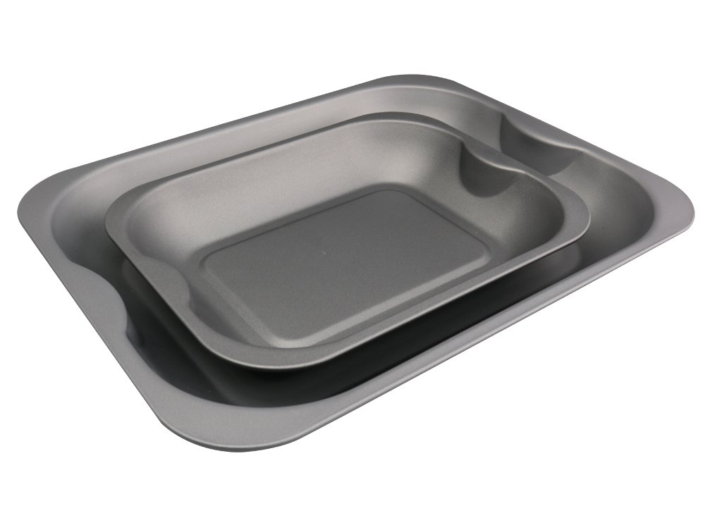 2Pk Roaster Tin Set (38cm Large & 28cm Medium), with Teflon Non Stick - Made in The UK. Pargat Housewares