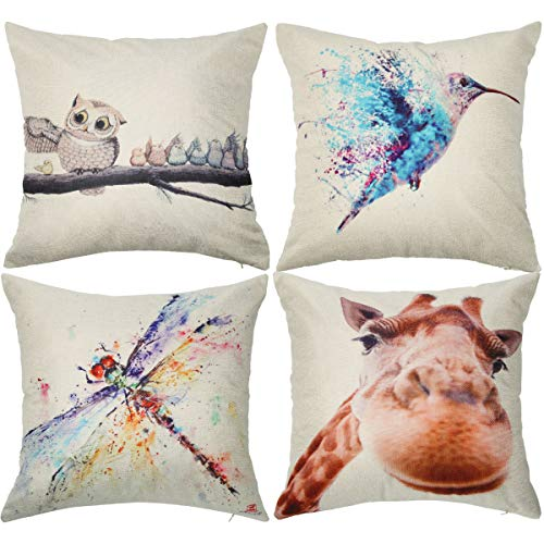 TOOL GADGET 4 Pack Throw Pillow Cover, Hummingbird Decorative Pillow Covers, Bird Decor Pillow Case, 18