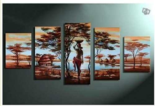 Unixtyle Art 100 Hand-painted Wood Framed Wall Art African Tribe House Beauty Home Decoration Abstract Landscape Oil Painting on Canvas 5pcs set
