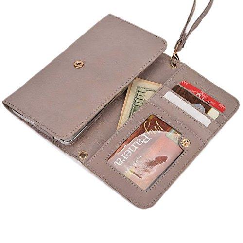Kroo Pochette Housse Téléphone Portable en cuir véritable pour Panasonic Eluga I Gris - gris