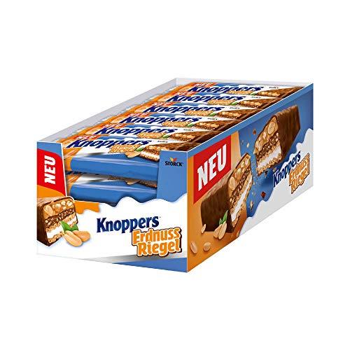 Knoppers ErdnussRiegel (24 x 40g) – Der erste ErdnussRiegel auf Knoppers Art – Mit knuspriger Waffeln, leckerer Milch-Erdnusscreme & feinen Erdnussstückchen in Karamell umhüllt von Vollmilchschokolade
