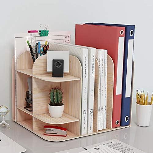 頑丈 ペンホルダーファイルボックス、木製多機能ニート、丈夫なテーブルストレージボックス、マガジンフォルダ事務所ディスプレイには、31 * 25 * 24センチスタンドラック (Color : A)