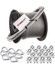 Seilwerk STANKE gegalvaniseerd stalen touw met pvc-coating 5m staalkabel met diameter 2mm 1x19 - SET 1