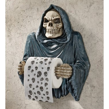 Your last Wipe Reaper Toilet Tissue Skeleton Sculpture (the Digital Angel)
