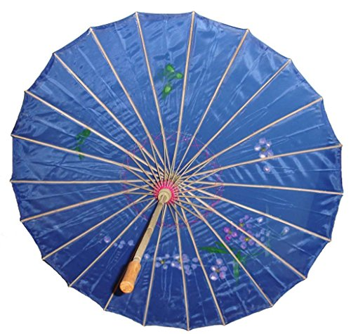GONO Chinese Oriental Fabric Umbrella Parasol 32'