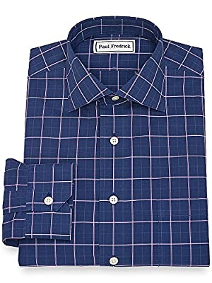 Paul Fredrick Men's Slim Fit Non-Iron Plaid Dress Shirt