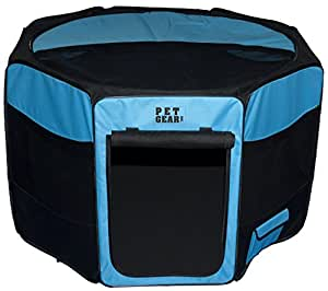Pet Gear Travel Lite Octagon Pet Pen With Removable Top for Cats and Dogs up to 90-Pound, 46-Inch, Ocean Blue