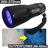 Pet Urine Detector 365NM Black Light Flashlight: PeeDar - Precision UV LED Pee Finder Tool. Locate Cat/Dog/Animal Stains. Uses: Hotel Inspection, Security Marks. 365NM-370NM Finds Invisible Urine Fast