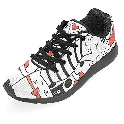 Interestprint Mujeres Jogging Running Sneaker Ligero Go Easy Walking Casual Comodidad Deportes Zapatillas Gatos Con Corazones Multi 1
