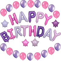 Birthday Decoration Set - Includes 17 pcs Girls Happy Birthday Foil (Mylar) Balloons with 4 Colored Stars, and 20 Pink and Purple Latex Balloons