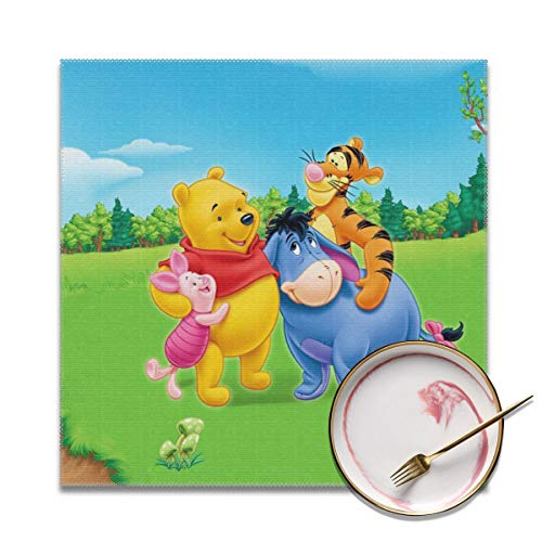 (LIUYAN Placemats Set of 4 - Winnie Pooh Happy Time Place Mats for Kitchen Dining Table Decoration)