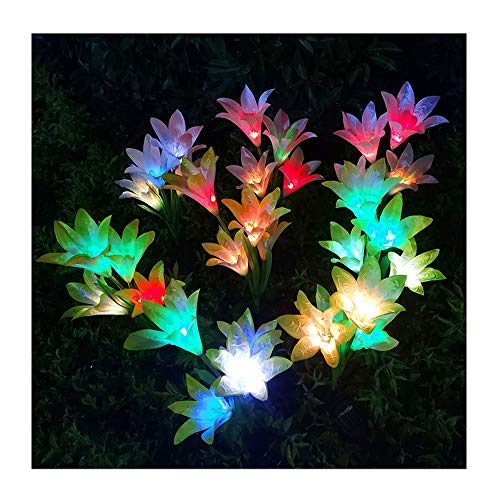 Lily Solar Light LED Chandelier Color Gradient Villa Viewing Light Be Applicable Garden Courtyard Lawn Porch 2 Pack