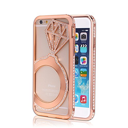 6 Plus, 6 Plus Case, iPhone 6 Plus Case Bumper with Diamond, Luxury Crystal Rhinestone Bling Metal Frame Bumper Case Cover for Apple iphone 6 5.5 inch (Rosered)