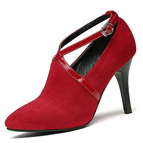 DKFJKI Talons Hauts pour Femmes Robe Escarpins Pompes Découpes Chaussures de Fête Chaussures de Mariage Red b2cu1