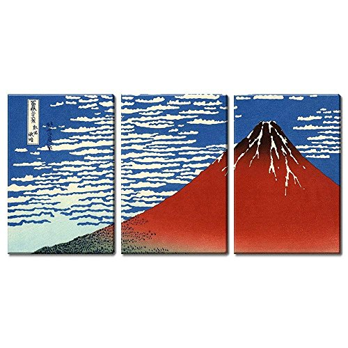 wall26 3 Panel World Famous Painting Reproduction on Canvas Wall Art - Red Fuji South Wind, Clear Sky by Katsushika Hokusai - Modern Home Decor Ready to Hang - 24