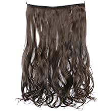 SWACC Straight/Curly Halo Wire Hidden Hairpiece Flip Synthetic Hair Extensions NO Clip Ins 80G (20-Inch Curly, Medium Ash Brown-8#)