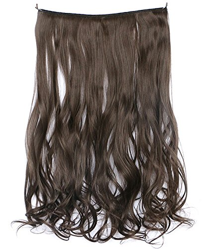 [SWACC Straight/Curly Halo Wire Hidden Hairpiece Flip Synthetic Hair Extensions NO Clip Ins 80G (20-Inch Curly, Medium Ash] (Curly Synthetic Hair)