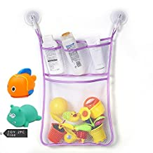 Chickwin Kids Or Baby Bath Toy Organizer, Toddlers Large Toy Storage Bag 2 Heavy Duty Lock Suction Cups Baby Bath Toy Mesh Net Storage Bag Organizer Holder (I)