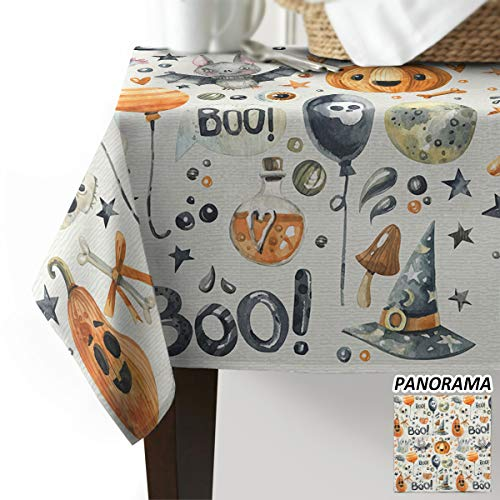 Halloween Tablecloths 60 X 120 (KAROLA Tablecloth Cotton Linen Dust-Proof Rectangle Table Cover for Kitchen Dinning Tabletop Decoration,Watercolor Boo Happy Halloween 60 x)