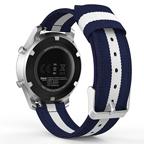 MoKo Gear S3 Watch Band, Fine Woven Nylon Adjustable Replacement Band Sport Strap for Samsung Gear S3 Frontier / S3 Classic/Galaxy Watch 46mm / Moto 360 2nd Gen 46mm Smart Watch, Blue & White