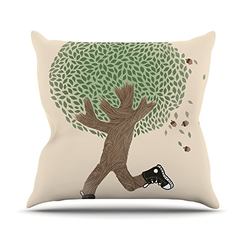 Kess InHouse Tobe Fonseca Run for Your Life Throw Pillow Tree Illustration 16 by 16